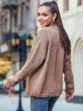 Коричневый свитер со спущенной линией плечевого шва 50207, фото 3
