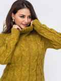 Вязаное платье большого размера с косами желтое 51573, фото 2