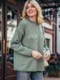 Зеленый свитер со спущенной линией плечевого шва 50208, фото 2