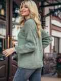 Зеленый свитер со спущенной линией плечевого шва 50208, фото 3