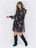 Шифоновое платье с цветочным принтом чёрное 44210, фото 2