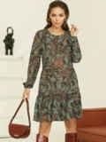 Короткое платье из шифона с принтом зеленое 53060, фото 1