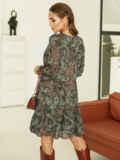 Короткое платье из шифона с принтом зеленое 53060, фото 4