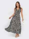 Принтованное платье на запах без рукава черное 53964, фото 2