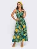 Принтованное платье на запах без рукава зеленое 53963, фото 2