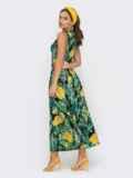 Принтованное платье на запах без рукава зеленое 53963, фото 3