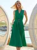 Платье без рукавов из хлопка с V-образным вырезом зеленое 54219, фото 3