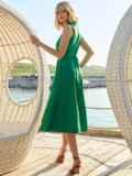 Платье без рукавов из хлопка с V-образным вырезом зеленое 54219, фото 4