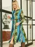 Шифоновое платье-рубашка с анималистичным принтом голубое 53354, фото 2