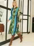Шифоновое платье-рубашка с анималистичным принтом голубое 53354, фото 3