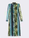 Шифоновое платье-рубашка с анималистичным принтом голубое 53354, фото 6
