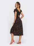 Черное платье с вырезом по спинке на пуговицах 53945, фото 4