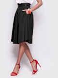 Чёрная расклешенная юбка с карманами по бокам 38975, фото 2