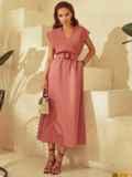 Коралловое платье из льна с расклешенной юбкой 53869, фото 4
