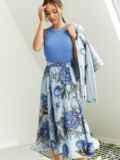 Шифоновая юбка-миди с цветочным принтом голубая 53999, фото 2