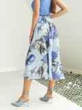 Шифоновая юбка-миди с цветочным принтом голубая 53999, фото 4