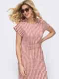 Пудровое платье в полоску со сборкой на резинке 46815, фото 2