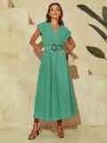 Бирюзовое платье из льна с расклешенной юбкой 54259, фото 2
