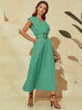 Бирюзовое платье из льна с расклешенной юбкой 54259, фото 3