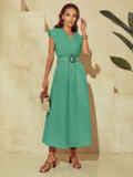 Бирюзовое платье из льна с расклешенной юбкой 54259, фото 4