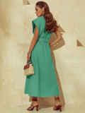 Бирюзовое платье из льна с расклешенной юбкой 54259, фото 5