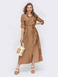 Платье-рубашка коричнего цвета с пуговицами 54606, фото 1