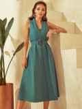Платье без рукавов из льна с V-образным вырезом зеленое 53873, фото 2