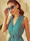 Платье без рукавов из льна с V-образным вырезом зеленое 53873, фото 5