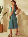 Платье без рукавов из льна с V-образным вырезом зеленое 53873, фото 6