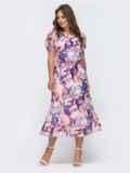 Платье с принтом и вафельной резинкой по талии розовое 48064, фото 2