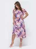 Платье с принтом и вафельной резинкой по талии розовое 48064, фото 3