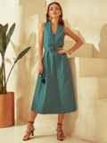 Приталенное платье из льна с фигурным вырезом зеленое 53873, фото 4