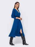 """Синее платье с рукавом """"летучая мышь"""" и разрезом спереди 52374, фото 2"""