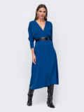 """Синее платье с рукавом """"летучая мышь"""" и разрезом спереди 52374, фото 3"""