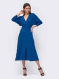 """Синее платье с рукавом """"летучая мышь"""" и разрезом спереди 52374, фото 5"""