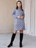 Платье-трапеция в клетку с фигурным вырезом синее 52836, фото 3