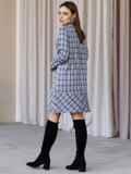 Платье-трапеция в клетку с фигурным вырезом синее 52836, фото 4