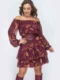 Шифоновое платье с принтом и открытыми плечами бордовое 45077, фото 1