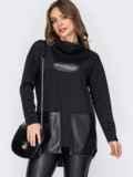 Туника с удлиненной спинкой и карманами из экокожи черная 52837, фото 2