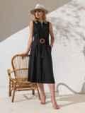 Приталенное платье из чёрного льна на пуговицах  49158, фото 2