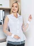 Блузка с сеткой по волану и рукавами белая 14169, фото 1