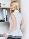Блузка с сеткой по волану и рукавами белая 14169, фото 2