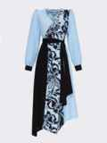 Голубое платье с принтом и асимметричным подолом 52966, фото 5