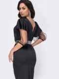Платье батал с рукавами-буфами из сетки черное 52774, фото 4