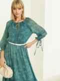 Шифоновое платье-миди с принтом и воланом по низу зеленое 52964, фото 4