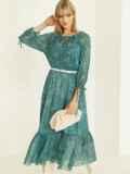 Шифоновое платье-миди с принтом и воланом по низу зеленое 52964, фото 5