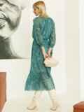 Шифоновое платье-миди с принтом и воланом по низу зеленое 52964, фото 6