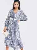 Шифоновое платье с принтом и асимметричным подолом белое 52965, фото 3