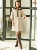 Замшевое платье-рубашка с кокеткой из экокожи бежевое 52967, фото 2
