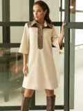 Замшевое платье-рубашка с кокеткой из экокожи бежевое 52967, фото 3